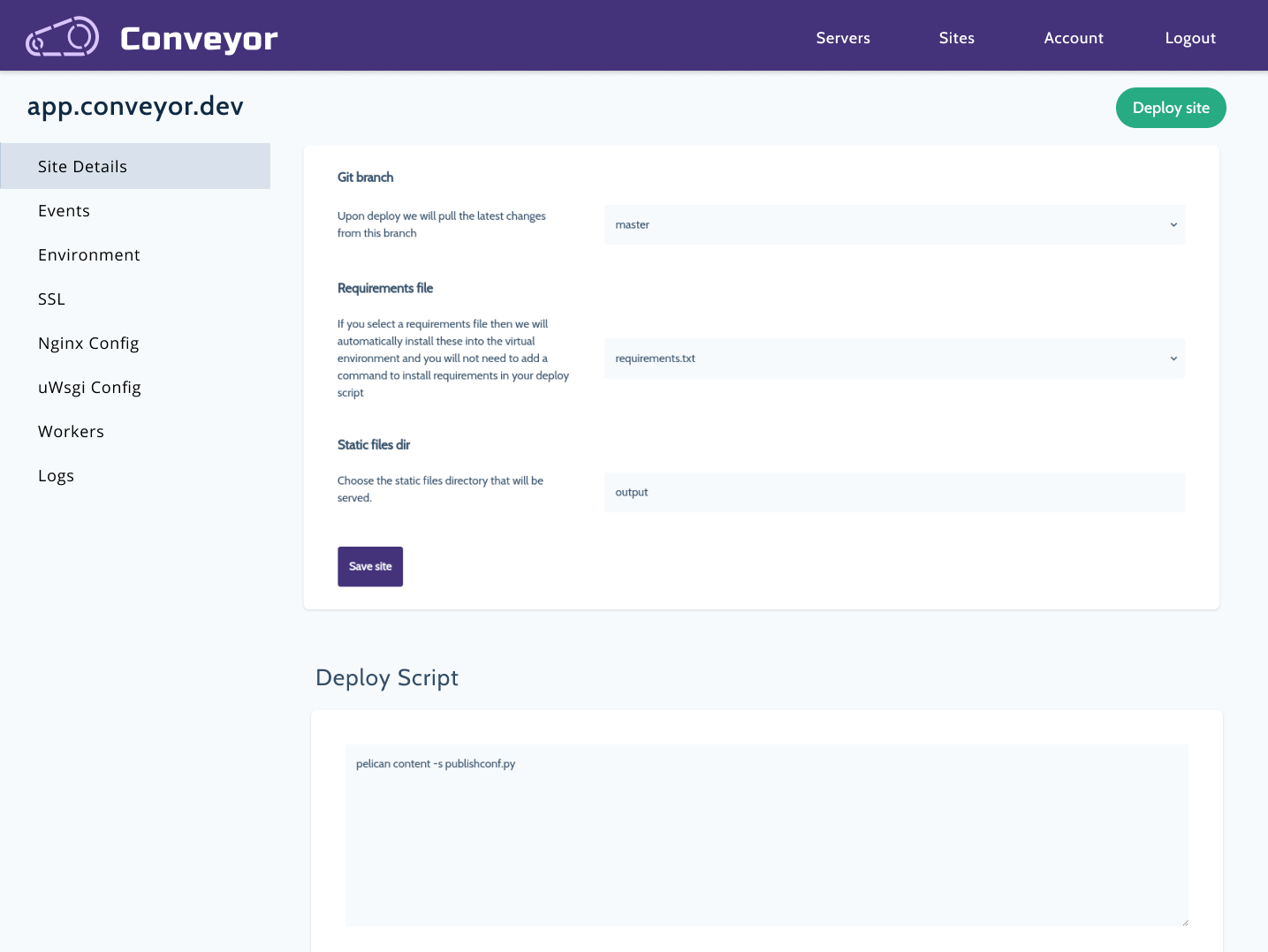 Conveyor Sidebar