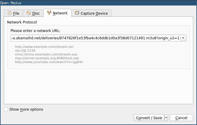 VLC open network stream