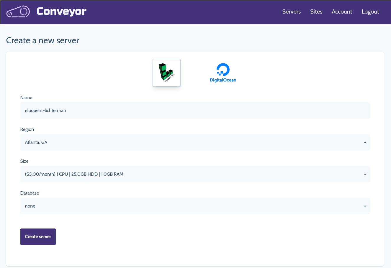 Create new server